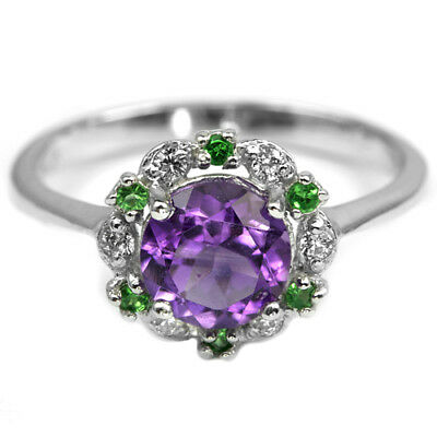 Natural Purple Amethyst Chrome Diopside Cz Sterling 925 Silver Ring Size 7.75