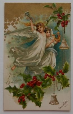 Antique 1906 Embossed Postcard Christmas Angels Harp Horn Holly Berries A/S