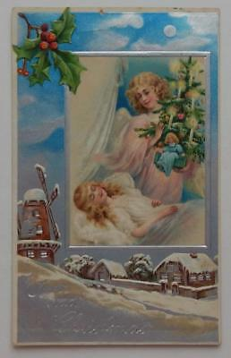 Antique 1908 Embossed Postcard Christmas Tree Angel Snow Little Girl Windmill