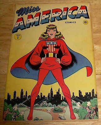 MISS AMERICA comics #1 scarce TIMELY/Marvel WWII-era USA mystic mystery captain