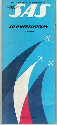 July 1971 Schedule Timetable SAS AIRLINES Global Pull-out Route Map 35 Pages