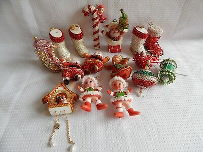 Vintage Christmas Tree Ornament Lot Beaded From Kit CandyCane Elf