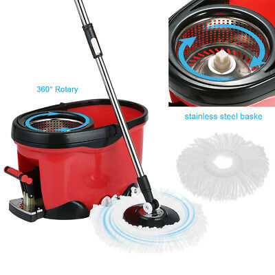 iKayaa Stainless Steel 360°Rolling Spin Mop Bucket Foot Pedal Self-Wring I9C9