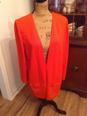 St. John Collection by Marie Grey Cardigan, Jacket L,  Red Knit, Gold Accents!