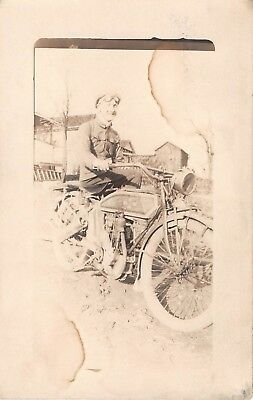 c.1910 RPPC Man on Excelsior Motorcycle