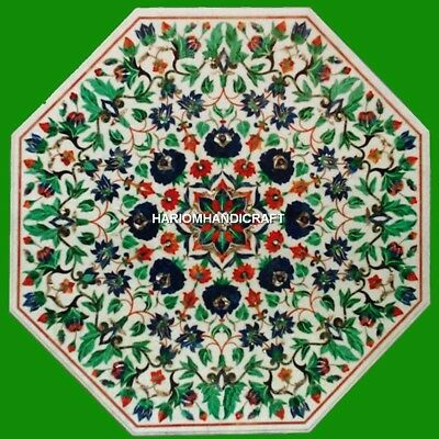 """36"""" Marble Center Octagon Dining Top Table Malachite Floral Inlay Art Gift H4333"""