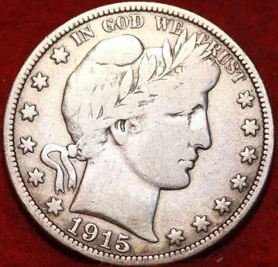 1915-D Denver Mint Silver Barber Half Dollar