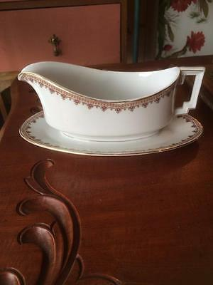 Antique H & Co Bavaria Imperial Pink Floral Gravy Boat Jug & Attached Underplate