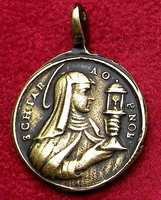Antique 18th Century Poor Clares of Perpetual Adoration Franciscan Bronze Medal