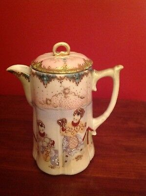 Japanese Meiji Antique Teapot Hand Painted Porcelain w Raised Gold  Enamels.