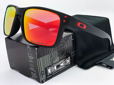 Sunglasses-Polarized-Holbrook Matte Black/Ruby Iridium