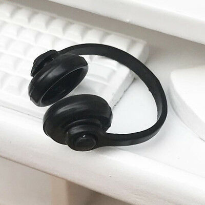 AU_1/12 Scale Dollhouse Miniature Accessories Black Earphone Headphone J