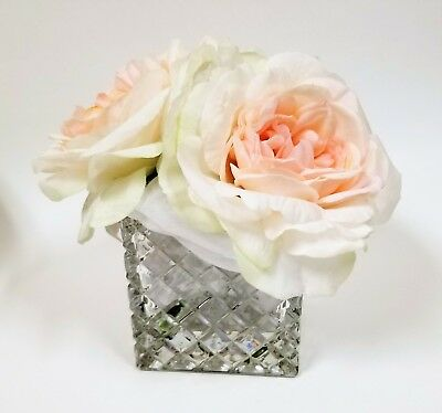 Artificial Blanco, Rosa Seda Flowers-Real a Touch + 3D Checker Cristal Florero