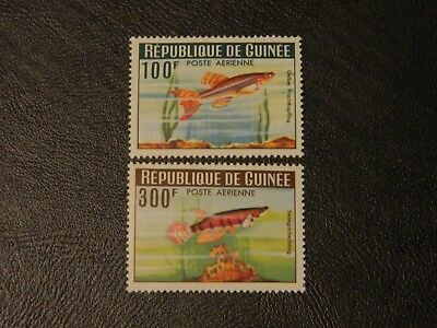 Republic Guinea Stamps SG 425/26 2 top values Airmail issued 1964 Tropical Fish.