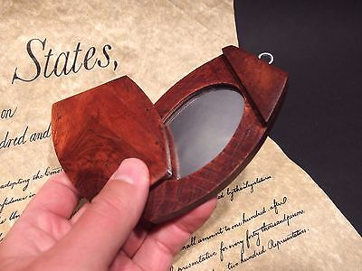 Antique Vintage Style Portable Wood Pivoting Hand Mirror Looking Glass