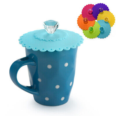 Silicone Glass Cup Cover Diamond Decor Cup Cover Reusable Cup Lid Multi-color