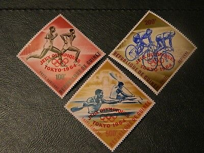 Republic Guinea Stamps SG 439/441 Opt Jeux Olympiques Tokyo 1964 MNH in Red Air.