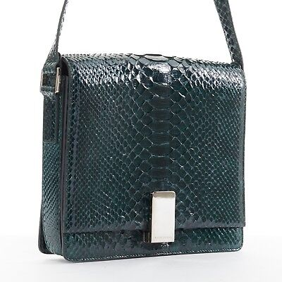 d2894162a7 RALPH LAUREN green python leather gold-tone clasp structured box shoulder  bag