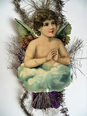 "Antique 12"" ANGEL BOY Scrap Tinsel VICTORIAN Die-Cut CHRISTMAS ORNAMENT germany"