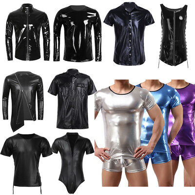 S-3XL Men Faux Leather Tight Muscle Tank Top Vest Harness T-shirt Club Costume