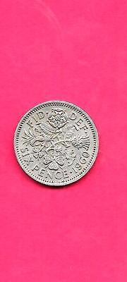 GREAT BRITAIN GB UK 6 PENCE KM903 1960 VF-VERY FINE-NICE OLD circulated COIN