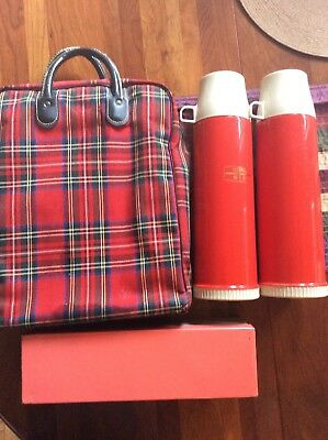 Vintage RED PLAID THERMOS PICNIC SET CARRY CASE Sandwich Box USA Made