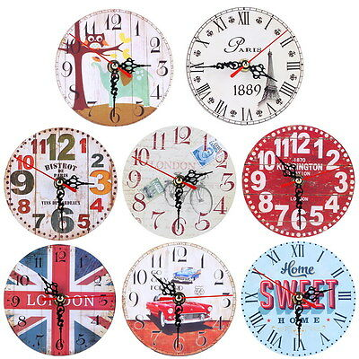 Vintage Rustic Wooden Wall Clock Antique Shabby Chic Retro Home Kitchen Decor UK