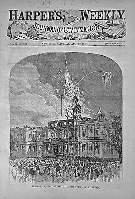 Atlantic Telegraph Cable - Fire At The City Hall, New York 1858 Harper's Weekly