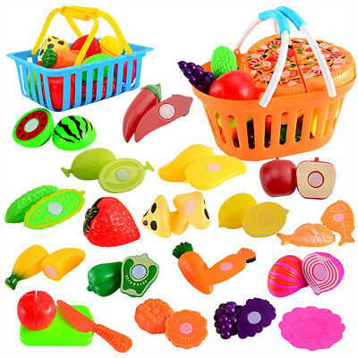 24Pcs Kids Pretend Role Play Kitchen Fruit Food Toy Cutting Vegetable Set Gift