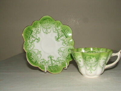Shelley/ Wileman Snowdrop Green Cameo Tea Cup & Saucer  Truly Stunning