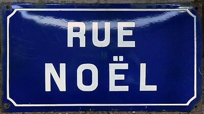 Old French street road sign plaque plate enamel name Cherbourg Noel Christmas