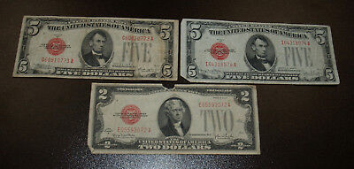 Three 1928 Red Seal Banknotes - Two $5 and one $2 note