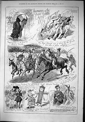 Old 1879 Humours Month April Spring Meeting Hunting Grandfathers Cloc Victorian