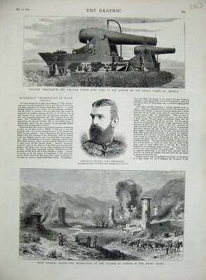 Old Antique Print 1879 Lord Chelmsford Cheena Bazar Maude Palliser Guns 19th