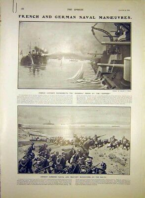 Original Old Antique Print French German Naval Manoeuvres Ships Military 1903