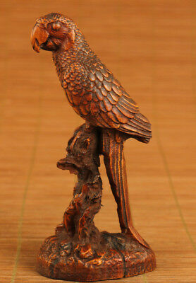 antique boxwood hand carved chinese old parrot statue netsuke collectable