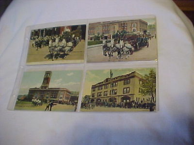 4 DIF PICTURE POST CARDS PROVIDENCE, RI FIRE DEPTS. EARLY 1900's COLOR UNPOSTED
