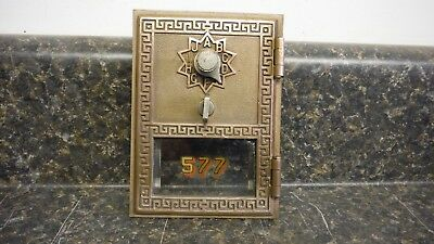 "Vintage Post Office Box Door. National 1955. Grecian Style. 3 5/8"" X 5""."