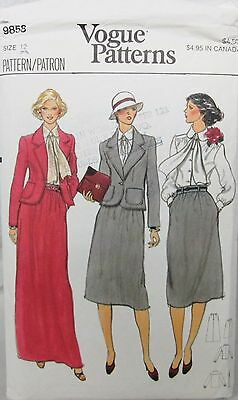 VOGUE Sewing Pattern #9858 MISSES BLOUSE SCARF JACKET SKIRT OFFICE Sz 12 CUT