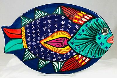 """Vintage Fish Shape Mexican Talavera Pottery Hand Painted Wall Art Plate 13.5"""""""