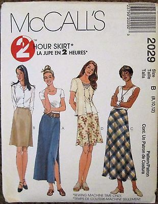 McCALL'S Sewing Pattern #2029 MISSES A-LINE SKIRTS Sz 8-12 UNCUT
