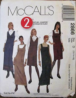 McCALL'S Sewing Pattern #2866 MISSES EASY FIT 2 HOUR JUMPER SK Sz 12-16 UNCUT