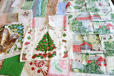 Lot of 19 Vintage Kitchen Tea Towels & Napkins Embroidery & Printed