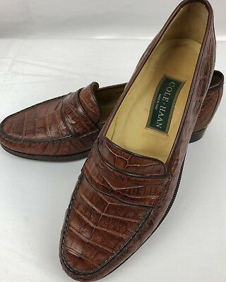 a7f6b1c9a53 Cole Haan Genuine Crocodile Brown Penny Loafers Size 10 D Made in Italy Rare