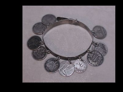 1880s LOVE TOKEN BRACELET with 10 coins, very fancy