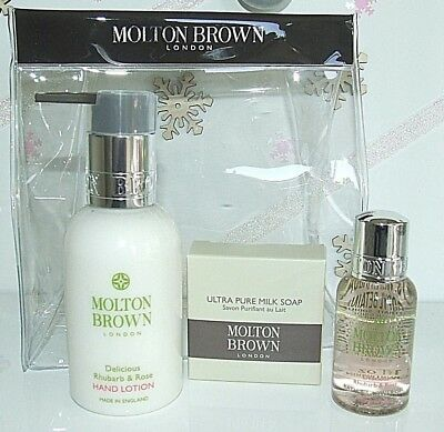 New Molton Brown 3 Piece Delicious Rhubarb & Rose Gift Bag Set Stocking Filler