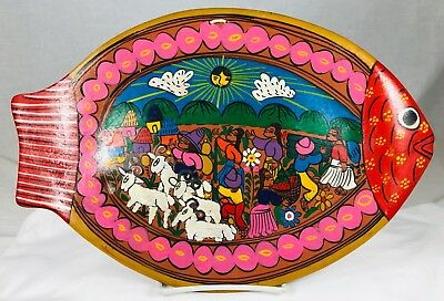 """Vintage Fish Shape Mexican Talavera Pottery Hand Painted Wall Art Plate 14"""""""