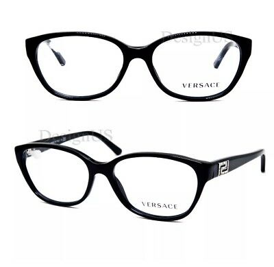 Versace MOD 3189-B GB1 Black Cat Eye Designer Eyeglasses Frames 52-15