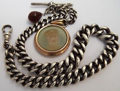 HANDSOME HEAVY 65g ENGLISH ANTIQUE 1902 SOLID STERLING SILVER ALBERT WATCH CHAIN
