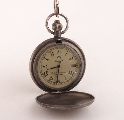China Precious Copper Hand Carving Train Statue Pocket Watch Pendant Collection
